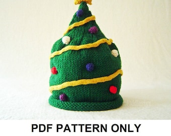 Knitting Pattern - Christmas Tree Hat Pattern - the NICK Hat (Newborn, Baby, Toddler, Child & Adult sizes incl'd)