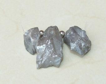 Light Silver Titanium Quartz Points, Titanium Druzy, Raw Rough Quartz Beads,  Titanium Quartz - 3 Stones - 25mm - 42mm - 0377