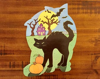 "Vintage Halloween Die Cut/ Black Cat with Pumpkins / Double-Sided / Measures: 12.5"" x 9"""