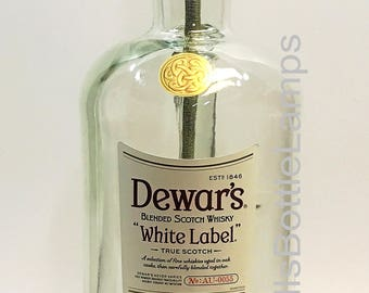 Dewars White Label Scotch Whiskey Large 1.75L Liquor Bottle TABLE LAMP with Wood Base, Desk Accent Light, Home Bar Pub Lounge Decor Lighting