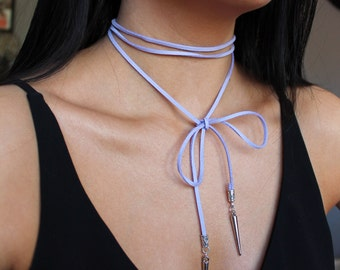 Lilac Suede Wrap Choker Necklace with Spike Detailing