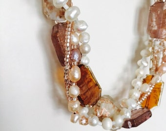 Freshwater Pearl and Lampwork Bead Necklace.