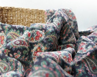 Double Gauze Fabric Vintage Paisley Navy By The Yard