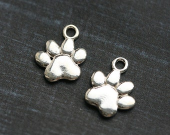Dog paw charm, Sterling silver pet paw charm, paw prints, 925 silver, for jewelry making - 1pc - 12mm - F360