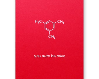 Auto Be Mine Valentine Card - Car Automobile Love Card - Chemistry Valentine Love Card - Science Nerd Geek - Anniversary Card
