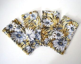 Vintage Cloth Napkins, Set of 12, Yellow Daisies, Dinner Napkins, Handmade Table Linens, Cottage Chic Decor, Floral Cotton Napkins