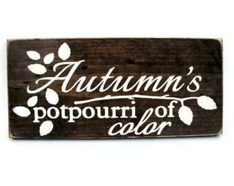 Autumn Fall Sign Rustic Wood Wall Art Home Decor Door Hanger - Autumn's Potpourri of Color (#1207)
