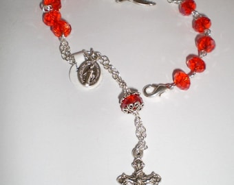 Red Crystal Rosary Bracelet, Chaplet with Holy Spirit Dove, Catholic Gift, Confirmation, First Communion, Baptism, Wedding Gift