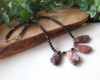 Multi Color Agate,  Beaded Gemstone Necklace, Handmade Necklace, Stone Jewelry, Beaded Necklace with Pendant Set, Artisan Necklace, Big Bold