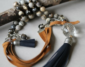 Tassel Necklace, Navy Tassel Necklace,  Black, White and Grey,  Bohemian Jewelry, Knotted Necklace, Leather Corded Necklace, Long Necklace,