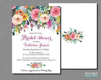 Bridal Shower Invitation Printable - Shabby Chic - Colorful Flowers Garden Bridal Shower Invitation, Floral Bridal Shower Invite, Roses