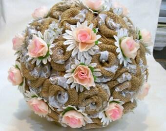 Blush Burlap Wedding Bouquet, Bridal Bouquet, Burlap Wedding, Fabric Bouquet, Burlap and Pink Bouquet,  Rustic Bouquet, Country Bouquet