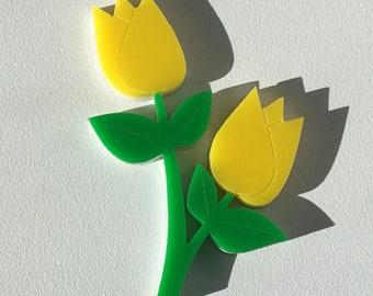 Yellow Tulip Brooch