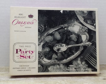 Orleans Pattern Two Piece Party set, Silver plated inlaid with solid silver, new in packaging