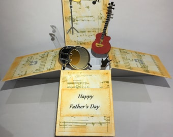 Musical pop up box card*Fathers Day pop up*Happy birthday pop up* Son Birthday pop up*Brother pop up*