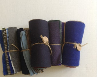 """Pre-cut 6 1/2"""" recycled wool squares."""