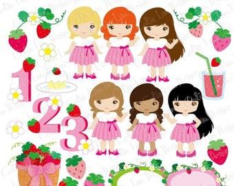 Cute Girls Tutu clipart set, Strawberry clipart , Tutu dress , Tutu Party, Strawberry Birthday numbers / Numeral clipart (CG204)
