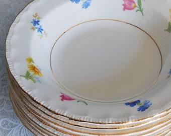 Pope Gosser China Dessert/Ice Cream/Fruit Bowls, Set of 8, Vintage Shower Wedding Tea Party China, Spring/Summer Kitchen