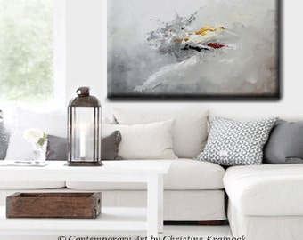 """Art GICLEE PRINT Grey Abstract Painting Modern Canvas Prints Yellow Grey Painting Urban City Home Wall Decor LARGE size up to 60"""" -Christine"""