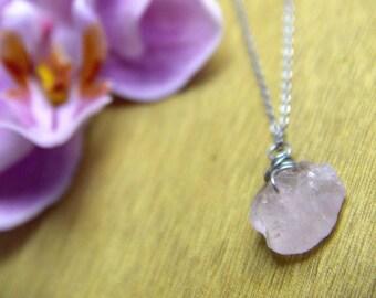 GENUINE raw ROSE QUARTZ Necklace Healing Crystal Natural Stone Yoga healing jewelry Rose quartz DRUzy healing jewelry positive energy