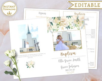 Baptism Program Two Girls Editable PDF with Picture for 2 Names White Gold Flowers LDS Baptism Program Printable Folded floral watercolour