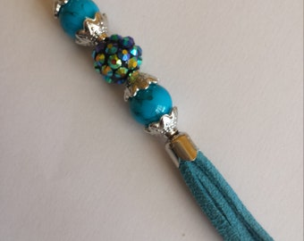 "Pendant 1 ""blue glass beads + Blue Suede tassel - 1.2x10cm"""