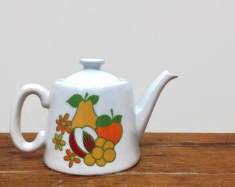 Vintage Cordon Bleu Teapot for One - Ceramic - Fruit & Flower Pattern - Made in France - French
