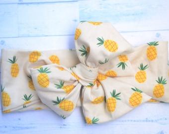 Pineapple baby head wrap orange baby headwrap baby headband baby turban toddler headwrap girls bow headwrap turban big bow baby headwrap