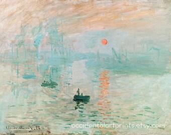 Claude Monet Sunrise, Bedroom Wall Art Print, Fine Art Reproduction, Home Decor, Room Decor, Impressionist Painting, Modern Office Decor