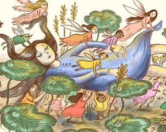 The Fairies Print, Giclee, Fairytale, Wall Art