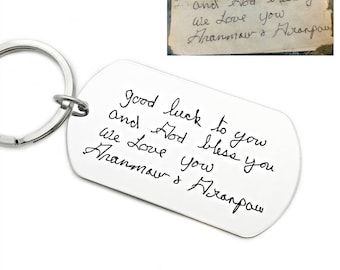Handwriting Keychain - Handwritten Note Keepsake - Actual Handwriting - Handwritten Keepsake Gift - Gift Him - Personalized Keychain - 1293