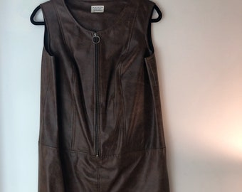 Vintage Genuine Leather Mini Dress with Zip Front