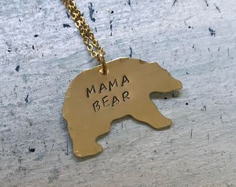 Mama Bear necklace. momma Bear Necklace. Mothers jewelry. Gift for her. New mom gift. Mother's day gift. Mama jewelry. Gold