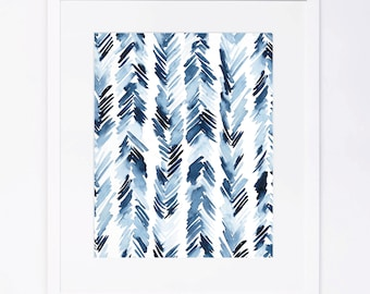 Blue Feather Pattern Watercolor Print