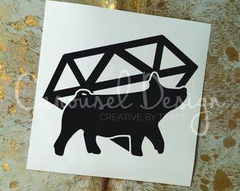 Show Pig Diamond Vinyl Sticker
