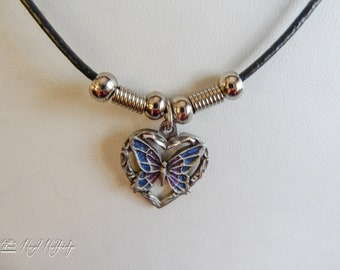 Pewter Heart w/ Butterfly Pendant