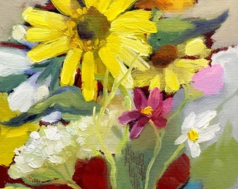 Sunny Wildflowers Small Oil Painting on Canvas