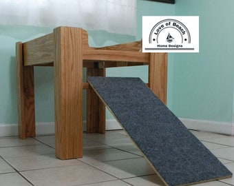 Oak Wood Raised Dog Bed, Elevated Dog Bed Furniture with Ramp or Step, Dog Ramp, Dog Bed Platform, Dog Cat Perch