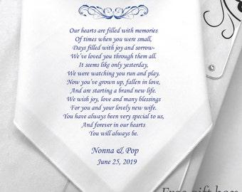 Wedding Hankies For Our Grandson-My Son-My Grandson-My Nephew-On His Wedding Day Gifts-Custom Groom Printed Handkerchiefs /HY1179