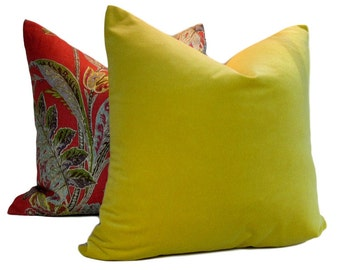 Kravet Velvet Pillow Cover Citron