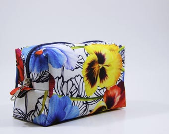 Floral Makeup bag, Cosmetic Bag, Travel Case, Gift for Her, Bridesmaid Gifts, Boutique Make Up Bag   Summer Cosmetic Bag