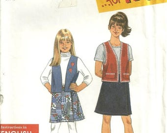 Simplicity 7715 Girls Vest & Wrap Skirt Sewing Pattern Size 7 - 8 - 10 - 12 - 14 Very Easy