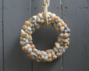 "Shell wreath - 8.5"" - blue wreath - coastal wreath - seashell wreath - beach wreath - nautical wreath"