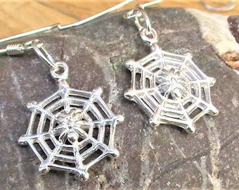 Silver Spider Earrings, Sterling Silver Cobwebs, Spider Web Earrings, Gothic Jewellery, Web Drop Earrings