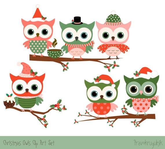Weihnachten-Eule-Clipart-set süße Weihnachten Cliparts Eule
