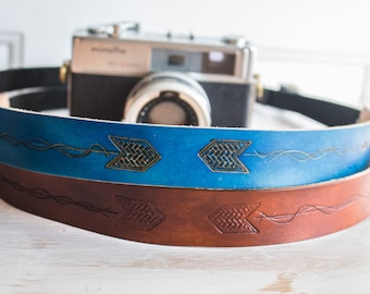 Tribal Camera Strap, Leather Camera Strap, Camera Strap, Arrow, Wanderlust accessories, gift for photographer