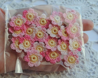 20 Pcs. crochet pink flower appliques. Handmade supplies for your crafts and scrapbooking. Crocheted mini flower embellishments.