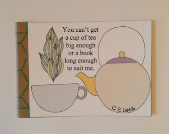 You Can't Get a Cup Of Tea Quote Encouraging Greeting Card Hand Made Japanese Hand Bound Unique