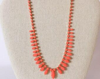 60's Vintage Bright Orange Bead Necklace