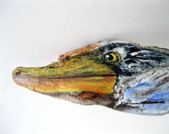 Blue Heron Driftwood Free Standing Pencil Holder, Driftwood Bird, Driftwood Art, Desk Decor, by gardenstones on etsy